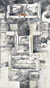 """""""Die Maske"""", Mischtechnik auf Hartfaser, 1997, 96 x 57,5 cm"""