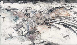 """""""Der Putz"""", Mischtechnik auf Hartfaser, 1997, 61 x 104 cm"""