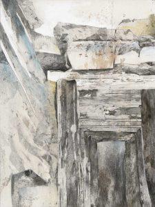 """""""Südländische Landschaft"""", Mischtechnik auf Hartfaser, 1998, 80 x 60 cm"""