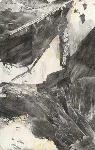 """""""Vallé du drá I"""", Mischtechnik auf Hartfaser, 2008, 130 x 80 cm"""