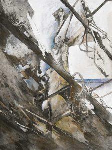 """""""Wrack II"""", Mischtechnik auf Hartfaser, 1998, 80 x 60 cm"""