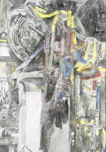 """""""Opfergabe"""", Mischtechnik auf Hartfaser, 1999, 100 x 70 cm"""