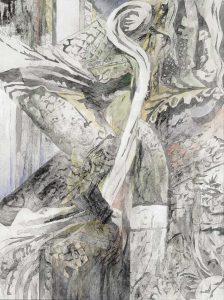 """""""Pak-Sa I"""", Mischtechnik auf Hartfaser, 1999, 80 x 60 cm"""