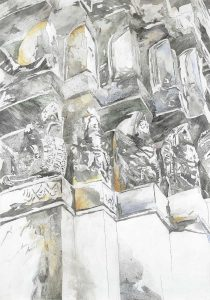 """""""Wände von Lopburi IX"""", Mischtechnik auf Hartfaser, 1999, 100 x 70 cm"""