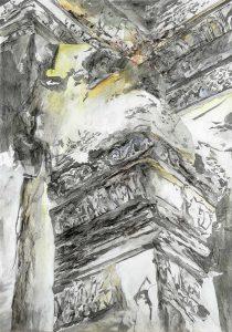 """""""Wände von Lopburi VI"""", Mischtechnik auf Hartfaser, 1999, 100 x 70 cm"""