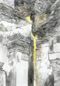 """""""Wände von Lopburi V"""", Mischtechnik auf Hartfaser, 1999, 100 x 70 cm"""