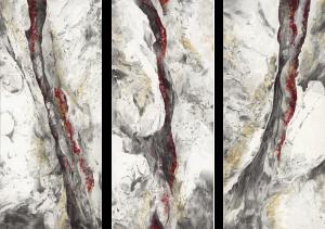"""""""Eruption"""", Mischtechnik auf Hartfaser, 2009, je 180 x 80 cm"""