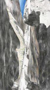 """""""Berg Moses II"""", Mischtechnik auf Sperrholz, 2011, 160 x 90 cm"""