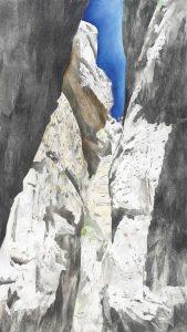 """Berg Moses I"", Mischtechnik auf Sperrholz, 2011, 160 x 90 cm"