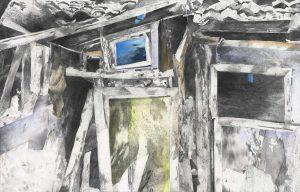 """""""Das alte Haus"""", Mischtechnik auf Leinwand, 2012, 90 x 120 cm"""