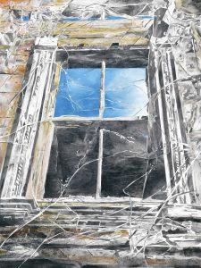 """""""Das osmanische Fenster"""", Mischtechnik auf Sperrholz, 2011, 120 x 90 cm"""