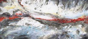 """""""Im Fluss"""", Mischtechnik-auf Leinwand, 2015, 80 x 180 cm"""