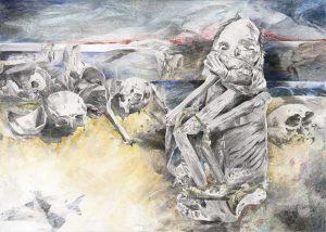 """""""Peruanischer Träumer in Landschaft"""", Mischtechnik auf Leinwand, 2010, 100 x 140cm"""