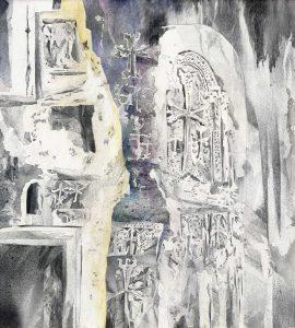 """""""Unbekanntes Land, Zeichen II"""", Mischtechnik auf Sperrholz, 2011, 100 x 90cm"""