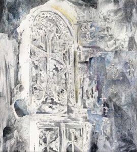 """""""Unbekanntes Land - Zeichen I"""", Mischtechnik auf Sperrholz, 2011, 100 x 90cm"""