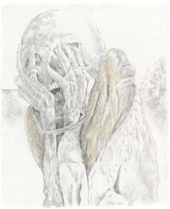 """""""Kleiner Peruanischer Träumer IV"""", Bleistift, Buntstift auf Papier, 2010"""