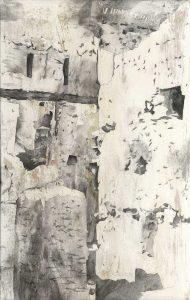 """Vallé du drá IV"", Mischtechnik auf Hartfaser, 2008, 130 x 80 cm"