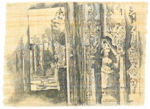 In den Ruinen I, Bleistift, Buntstift auf Papyrus, 2004, 64 x 84 cm