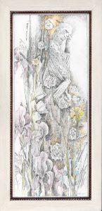 """""""Alter in Blumen"""", Bleistift, Buntstift auf Papier, 2007, 115 x 48 cm"""