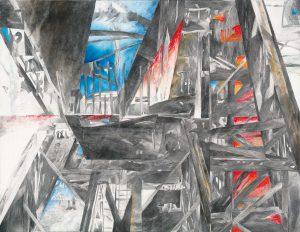 """""""Ferropolis"""", Mischtechnik auf Leinwand, 2014, 100 x 130 cm"""