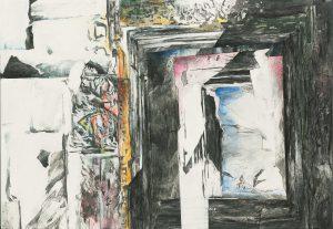 """""""Das Fenster"""", Mischtechnik auf Hartfaser, 2001, 100 x 70 cm"""