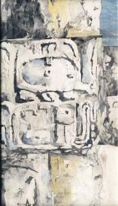 """""""Zeichen I - aus dem Maya-Zyklus"""", Mischtechnik auf Hartfaser, 1997, 105 x 61cm"""