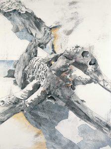 """""""Figuration I"""", Mischtechnik auf Hartfaser, 1989, 80 x 60 cm"""