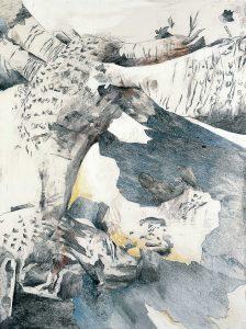 """""""Figuration II"""", Mischtechnik auf Hartfaser, 1989, 80 x 60 cm"""