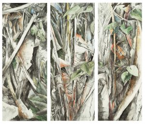 """""""Jungle"""", Mischtechnik auf Hartfaser, 2002, je 96 x 37 cm"""