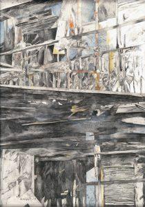 """""""Fassade"""", Mischtechnik auf Hartfaser, 1996,  140 x 90 cm"""