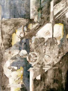 """""""Räder"""", Mischtechnik auf Hartfaser, 1997, 80 x 60 cm"""