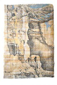 """""""Dadès-Tal III"""", Bleistift, Buntstift auf Papyrus, 2017, 94 x 64 cm"""