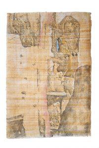 """""""Dadès-Tal II"""", Bleistift, Buntstift auf Papyrus, 2017, 94 x 64 cm"""