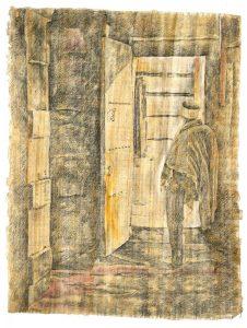 """""""In der Tür"""", Bleistift, aus dem Äthiopien-Zyklus, auf Papyrus, 2018, 94 x 65 cm"""