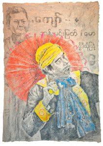 """""""Burmesischer Tänzer II"""", Zeichnung, 2018, 100 x 70 cm"""