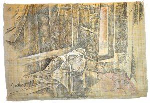 """""""Schlafender"""", Bleistift, Buntstift auf Papyrus, 2018, 65 x 94 cm"""