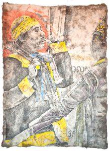 """""""Burmesischer Tänzer I"""", Zeichnung, 2018, 100 x 70 cm"""