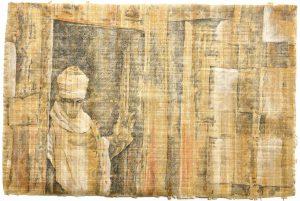 """""""In Gedanken versunken"""", aus dem Äthiopien-Zyklus, Bleistift, Buntstift auf Papyrus, 2019, 61 x 92 cm"""