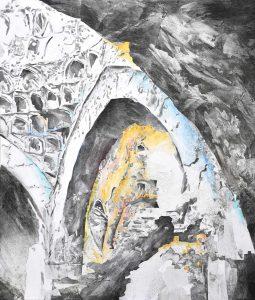 """""""Das Hamam 1"""", Mischtechnik auf Leinwand, 2020, 140 x 120 cm"""