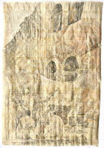 """""""Die Andacht"""", aus dem Äthiopien-Zyklus, Bleistift, Buntstift auf Papyrus, 2019, 94 x6 5 cm"""