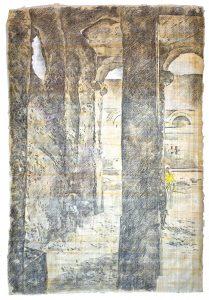 """""""Gelbes Tuch"""", aus dem Äthiopien-Zyklus, Buntstift auf Papyrus, 2019, 65 x 94 cm"""